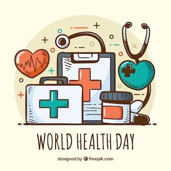 Stile disegnato del giorno di salute a disposizione