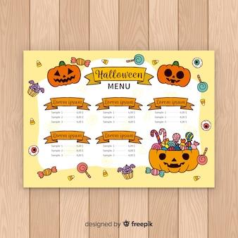 Stile disegnato del modello del menu di halloween a disposizione