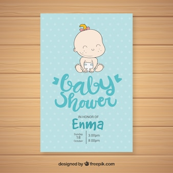 Stile disegnato del modello dell'invito della doccia di bambino a disposizione