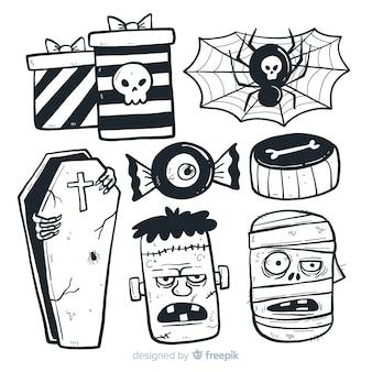 Stile disegnato della raccolta degli elementi di halloween a disposizione