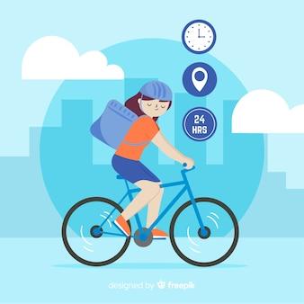 Stile disegnato di consegna di concetto della bicicletta a disposizione