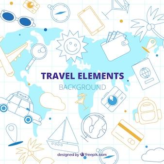 Stile disegnato di elementi del fondo di viaggio a disposizione