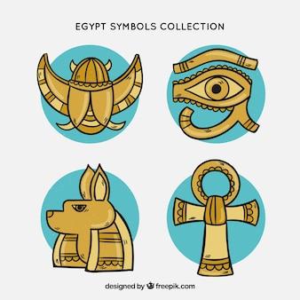 Stile disegnato di simboli e degli dei di simboli dell'egitto a disposizione