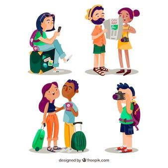 Stile disegnato di viaggiare del fondo della gente a disposizione