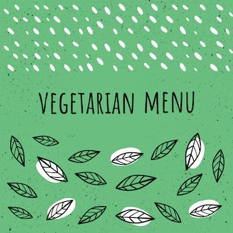 Stile disegnato vegetariano del modello del menu del vegano a disposizione. stile disegnato a mano.