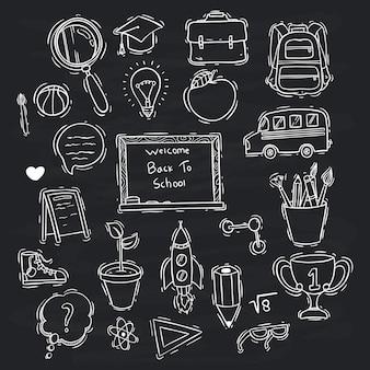 Stile doodle bianco e nero della collezione di icone di scuola sulla lavagna
