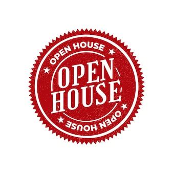 Stile etichetta casa aperta