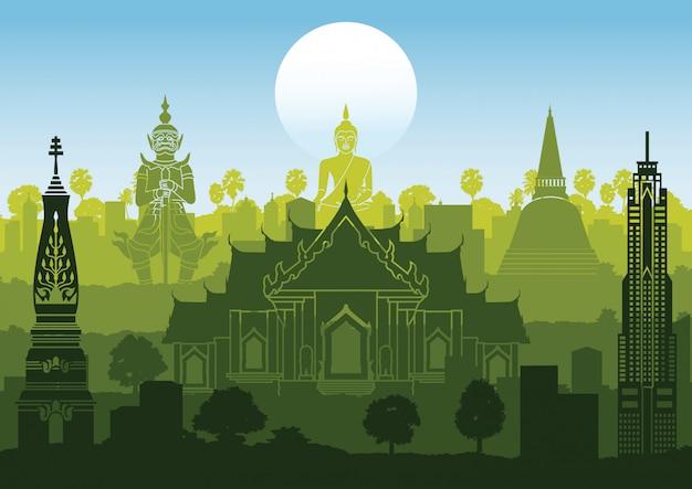 Stile famoso della siluetta del punto di riferimento della tailandia con progettazione di fila su tempo di tramonto, colore verde e blu