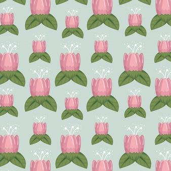 Stile floreale con petali natual e foglie di sfondo