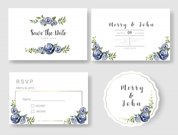 Stile floreale dell'acquerello del modello della carta dell'invito di nozze