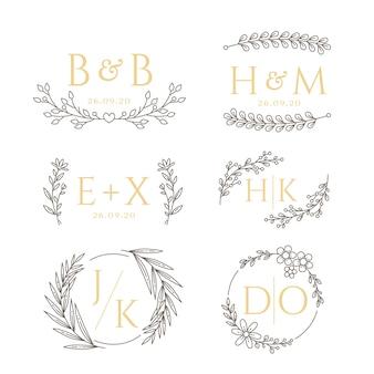 Stile floreale per monogrammi di nozze