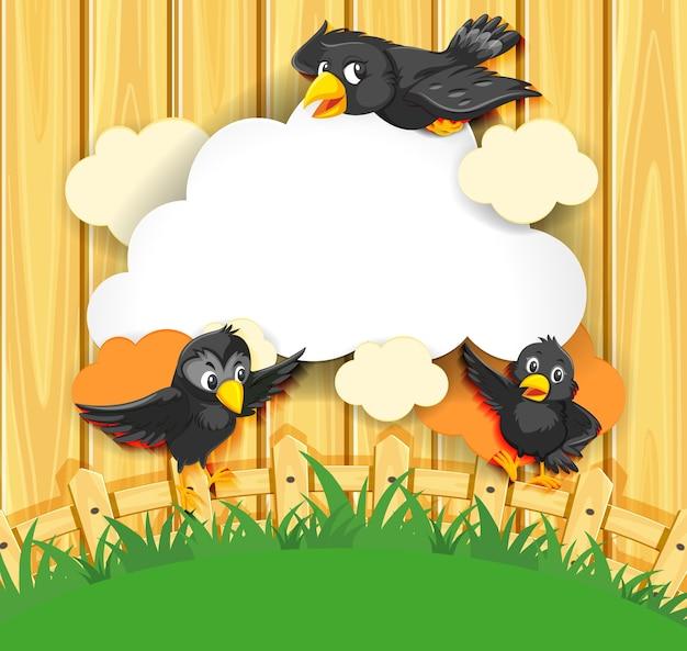 Stile fumetto comico banner fantasia uccello