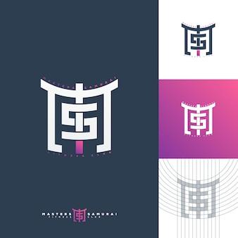 Stile giapponese di concetto di marchio monogramma ms.