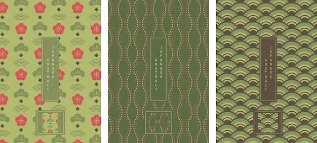 Stile giapponese orientale astratto seamless pattern design sfondo onda verde linea di punti scala e prugna fiore