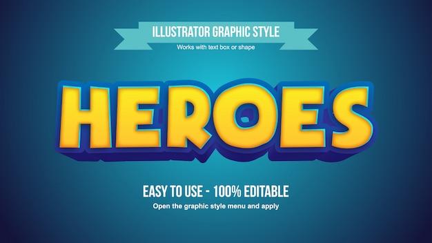 Stile grafico del testo editabile del fumetto giallo giallo blu moderno 3d