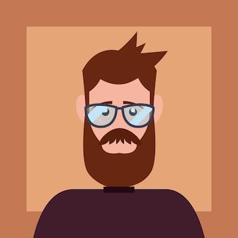 Stile hipster con uomo di cartone animato con barba e occhiali su