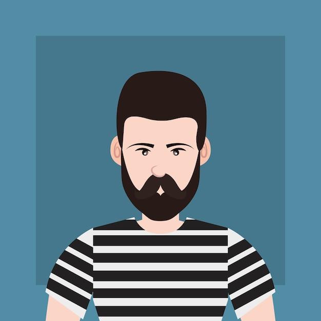 Stile hipster con uomo di cartone animato con barba su sfondo blu