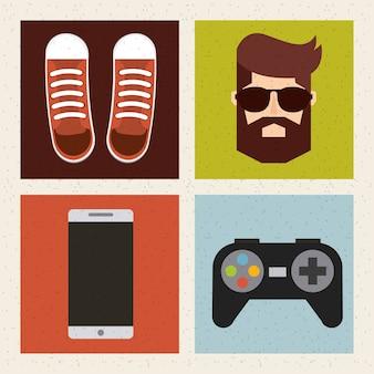 Stile hipster set icone isolate di raccolta