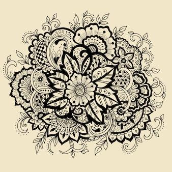 Stile indiano tradizionale, elementi floreali ornamentali per tatuaggio all'henné,