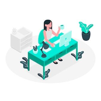 Stile isometrico blu ragazza ufficio