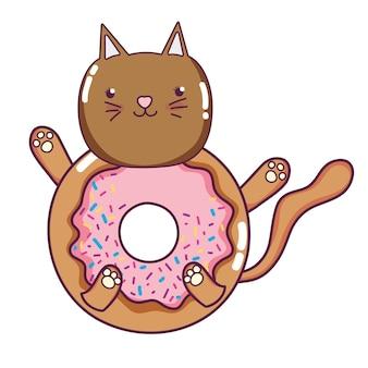 Stile kawaii gatto felice ciambella