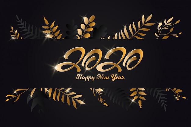 Stile lettering 2020 con banner effetto glitter