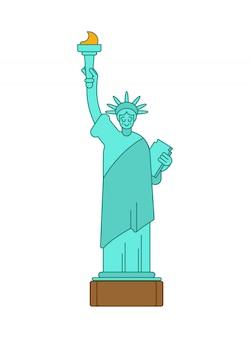 Stile lineare della statua della libertà. punto di riferimento america.