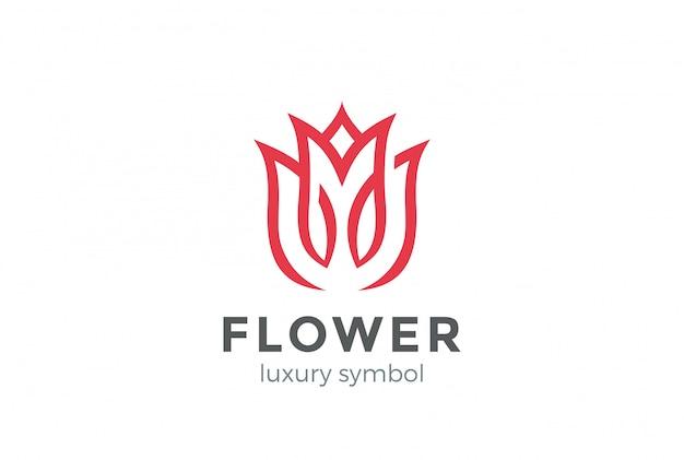 Stile lineare di lusso fiore logo astratto stile. modello di progettazione looped tulip rose lines logotype