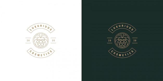Stile lineare minimo semplice dell'illustrazione del modello di progettazione dell'emblema di logo di vettore di simbolo della linea della testa del leone