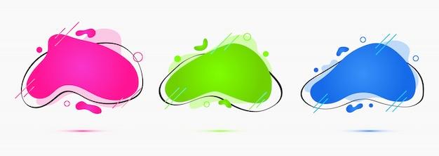 Stile liquido, insieme vettoriale di forme geometriche creative semplici