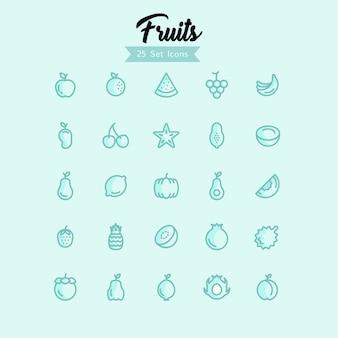 Stile moderno delle icone della frutta