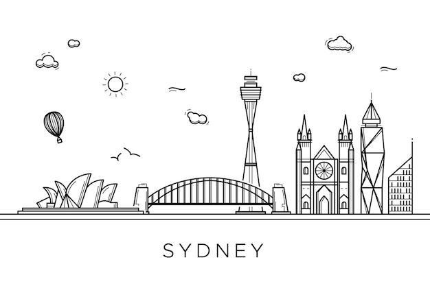 Stile monocromatico per skyline di punti di riferimento di contorno