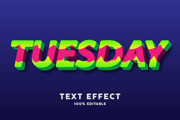 Stile ondulato verde e rosso fresco audace del testo 3d, effetto del testo