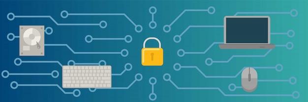 Stile orizzontale e piano del fondo dell'insegna di sicurezza informatica