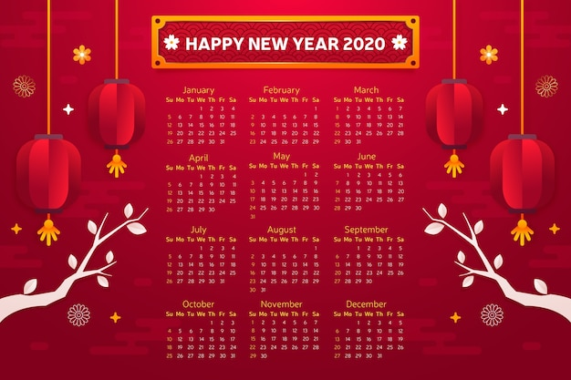 Stile piano del calendario cinese di nuovo anno