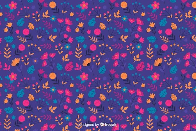Stile piano del fondo decorativo dei fiori variopinti