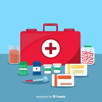 Stile piano del fondo di concetto della farmacia