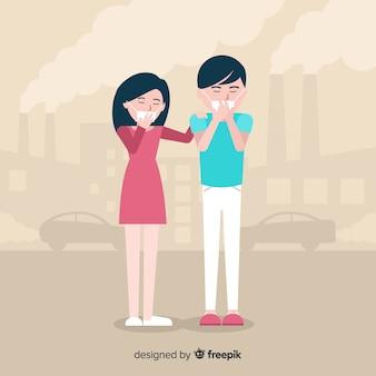 Stile piano del fondo di concetto di inquinamento