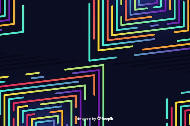 Stile piano del fondo di forme geometriche al neon