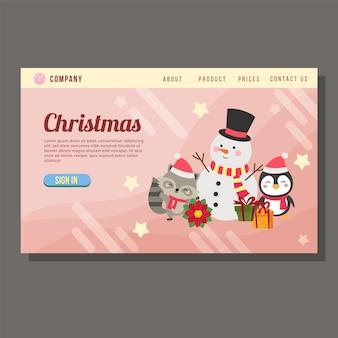 Stile piano del pinguino del pupazzo di neve del regalo della pagina di destinazione di vendita di natale