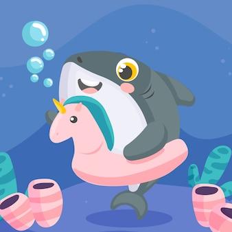 Stile piano dell'illustrazione dello squalo di bambino di progettazione