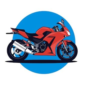 Stile piano dell'illustrazione rossa di vettore del motociclo
