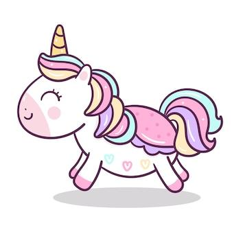Stile piano della mano del fumetto unicorno carino