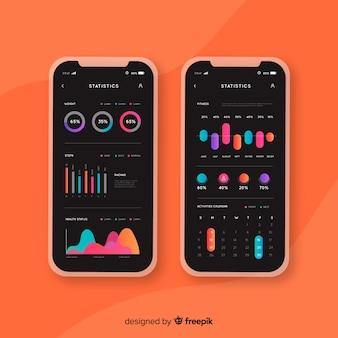Stile piano di infografica mobile app fitness modello