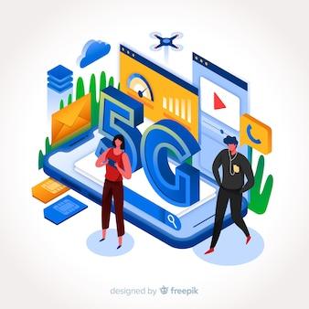 Stile piano di progettazione dell'illustrazione di affari di internet 5g