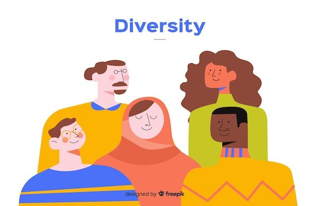 Stile piano di sfondo di persone diverse