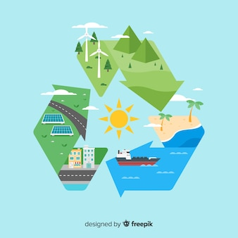 Stile piano sfondo concetto di ecologia