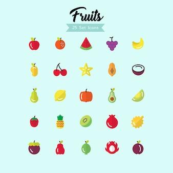 Stile piatto icona di frutta