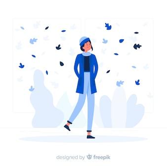 Stile piatto ragazza autunno blu
