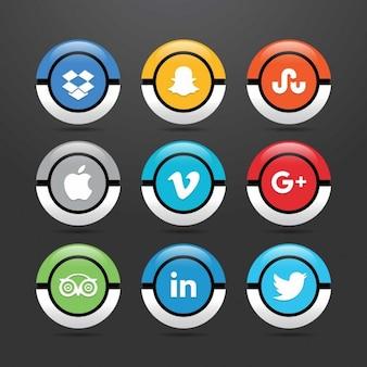 Stile pokeball icona sociale set